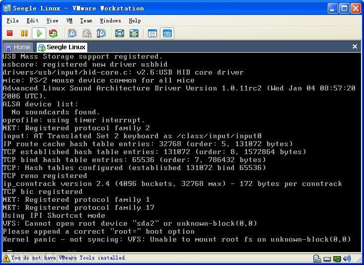 找到答案了。如果在建立虚拟机的时候是选择的SCSI的磁盘,那么应该在Device Drivers->SCSI device support->SCSI low-level drivers下加入BusLogic SCSI support的支持,可以采用编译到内核来避免未用initrd脚本来加载模块而导致启动失败